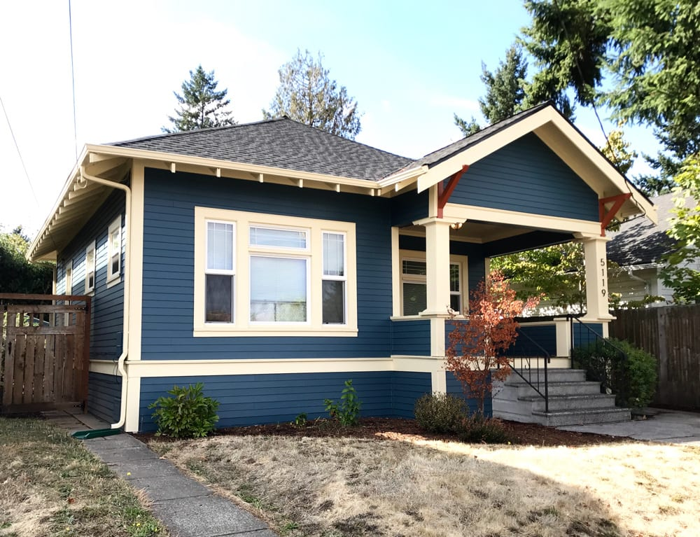 siding example on blue home