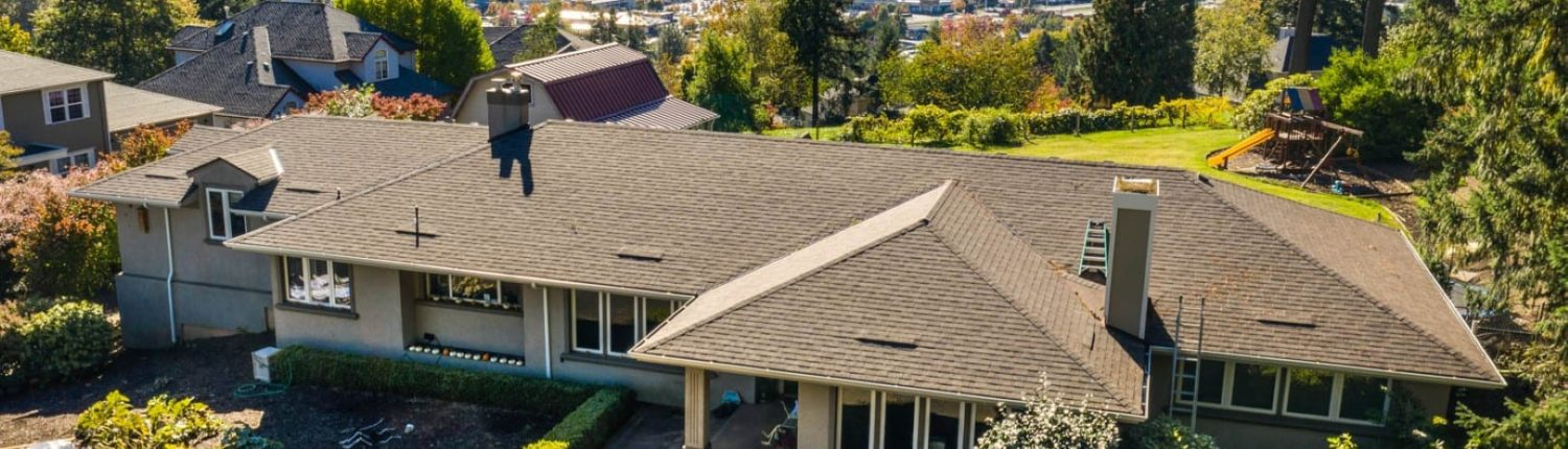 aerial image of a bull mountain homes new roofing done by KVN