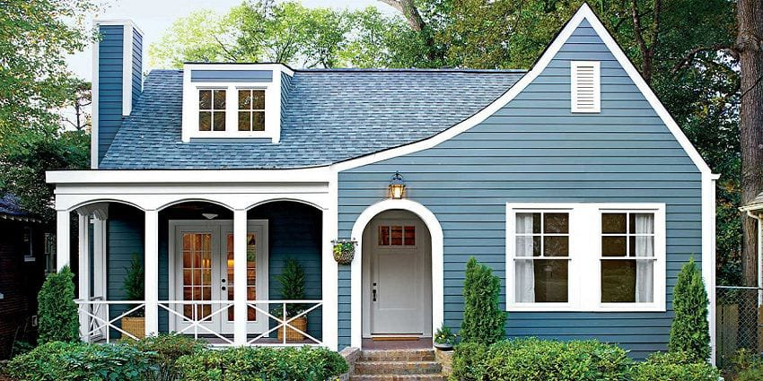 home with hardie plank siding painted blue