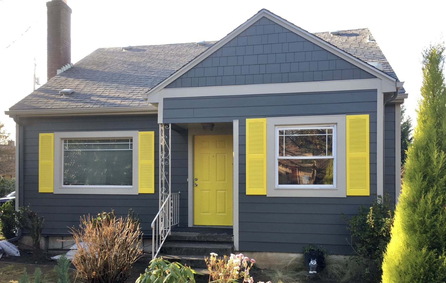 After - James Hardie Smooth Lap Siding with Hardie Shake, Belly Band, Shutters & Sherwin Williams Exterior Paint