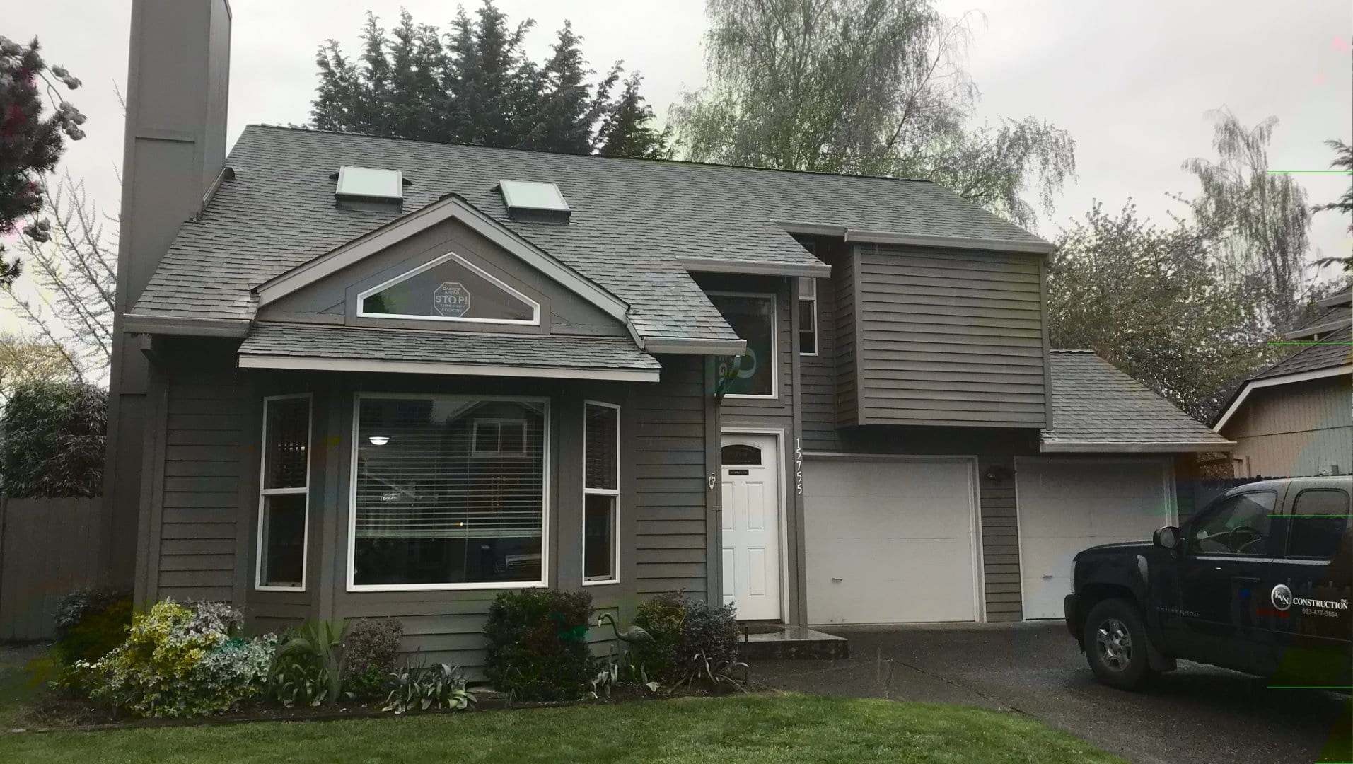 Before with Old Cedar & T1-11 Siding on home in NW Portland