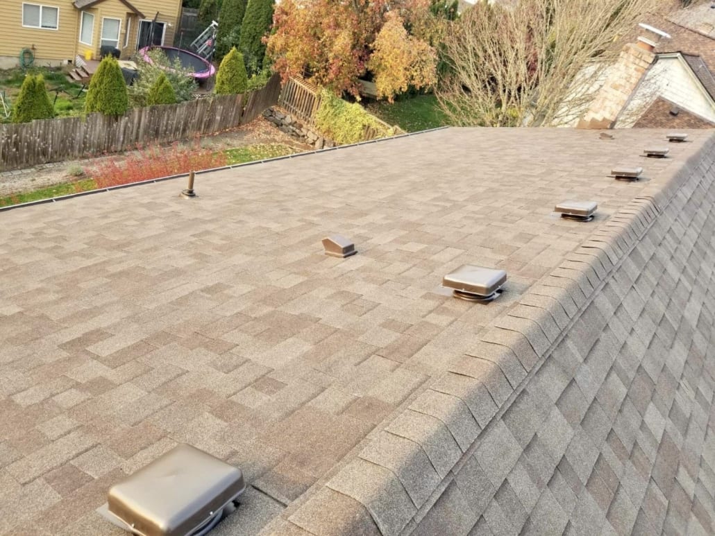 Eagle eye view of a Professional new roof installation in Portland