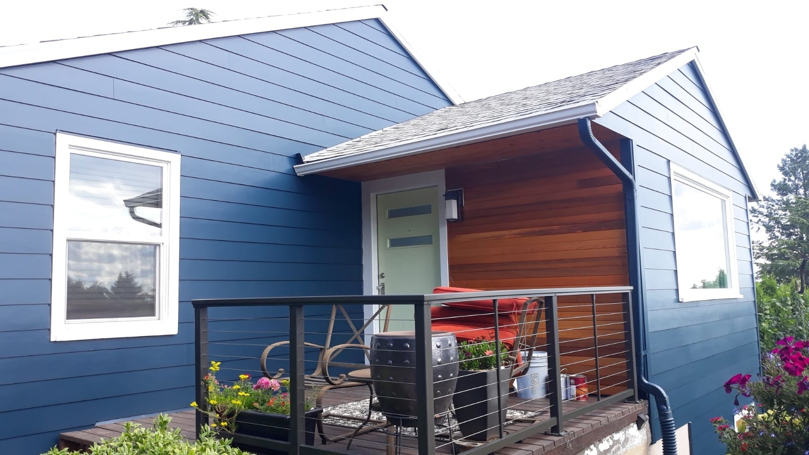 Finished Siding installation in Portland back patio