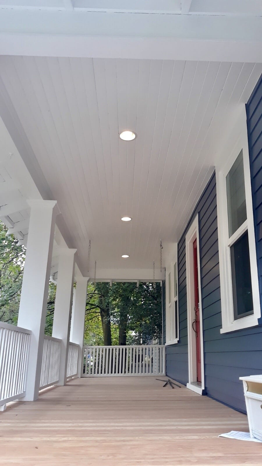 Finished Siding installation in Portland ceiling of porch