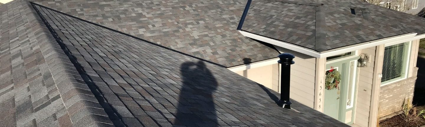 Eagle eye view of a Malarkey Black Oak Vista Shingle installation in Portland