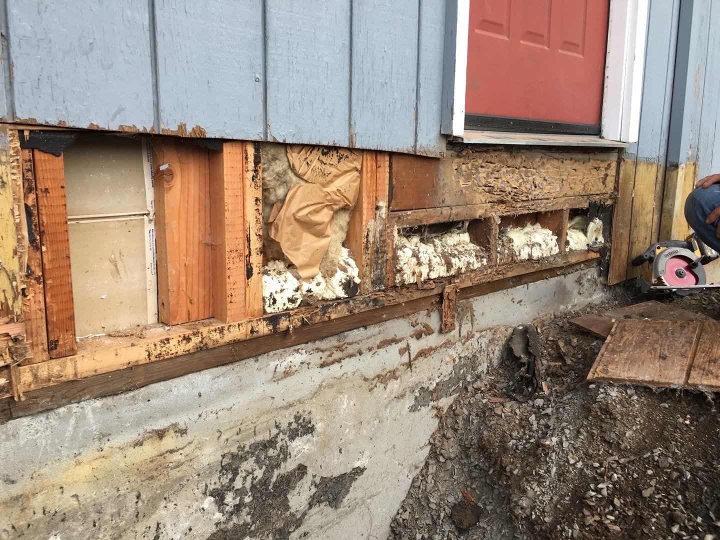 Dry rot repair during new siding installation in Sandy Oregon