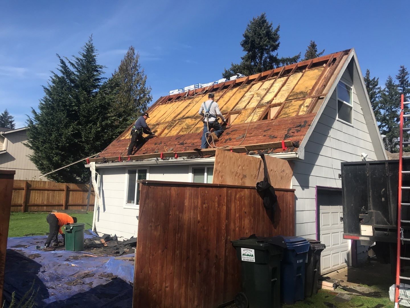 SE Portland home in process of removal of old roof and install a new roof in Portland