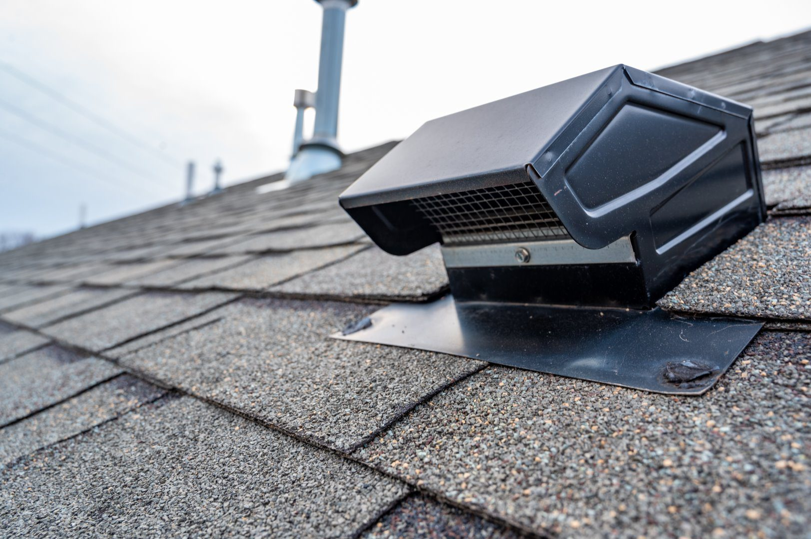 roofing inspection of shingles vents and attic