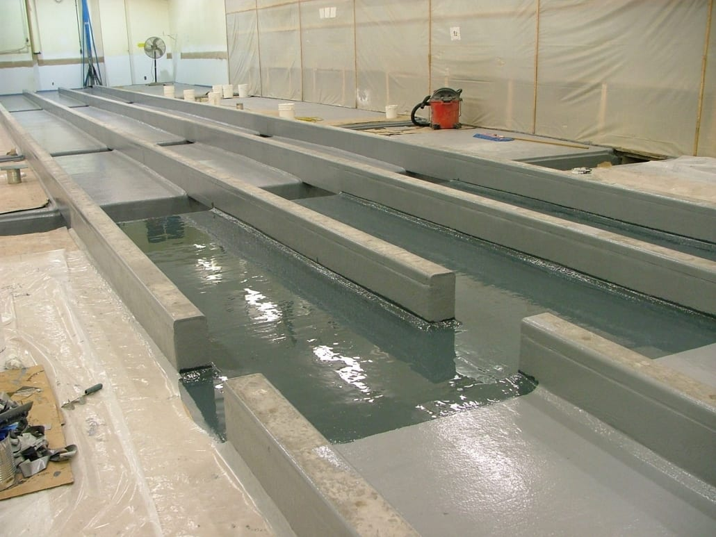 Tyco manufacturing floor chemical resistant coating installation in Oregon