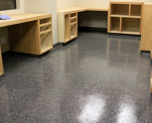 Morning Star Packing office epoxy flake flooring installation