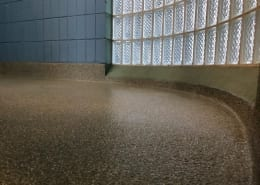locker room epoxy flake flooring installation
