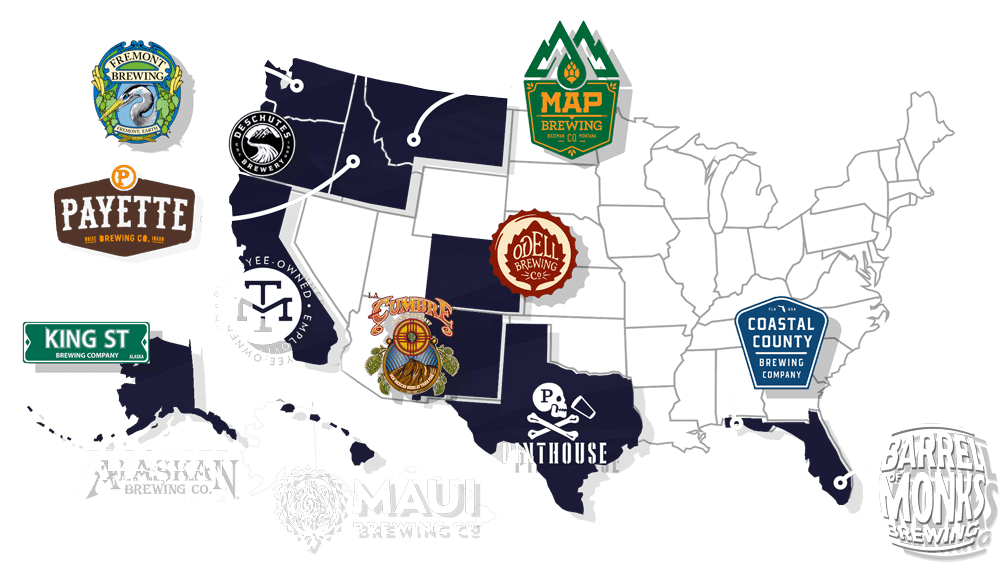 Map of breweries around the United States Cascade floors has worked with