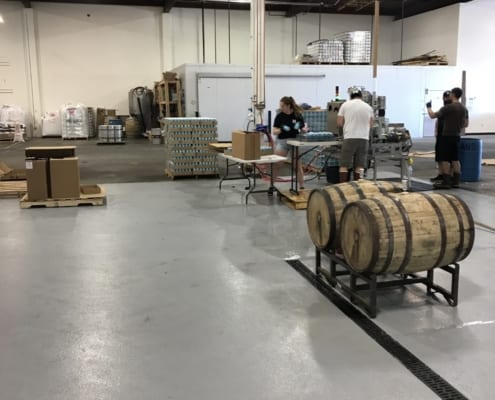 Portland Brewery flooring installation with epoxy and urethane