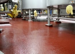New red epoxy brewery floors at Pyramid Brewing in Portland