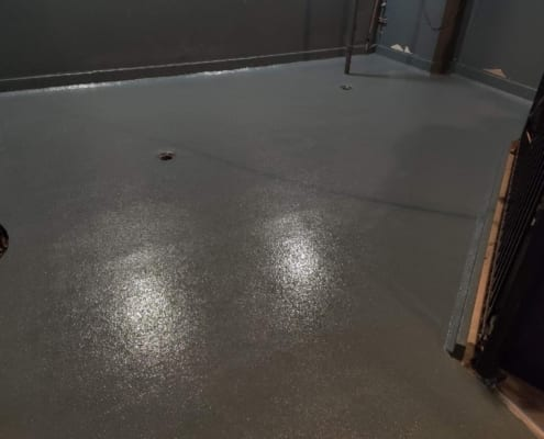 Fiberglass Urethane Base with Epoxy top coat restaurant flooring installation over plywood in Salem Oregon