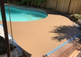 Residential poolside coating installation in Oregon
