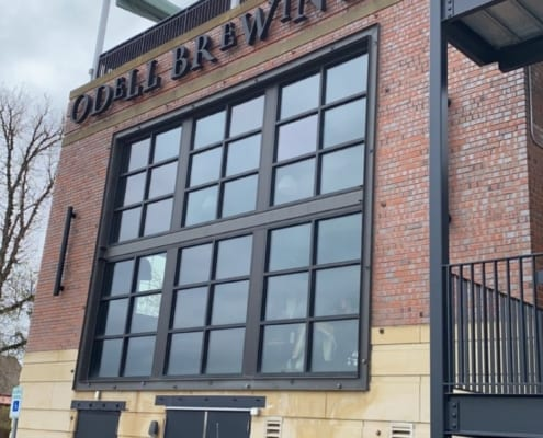 Outside of Odell Brewing during industrial flooring installation in Colorado