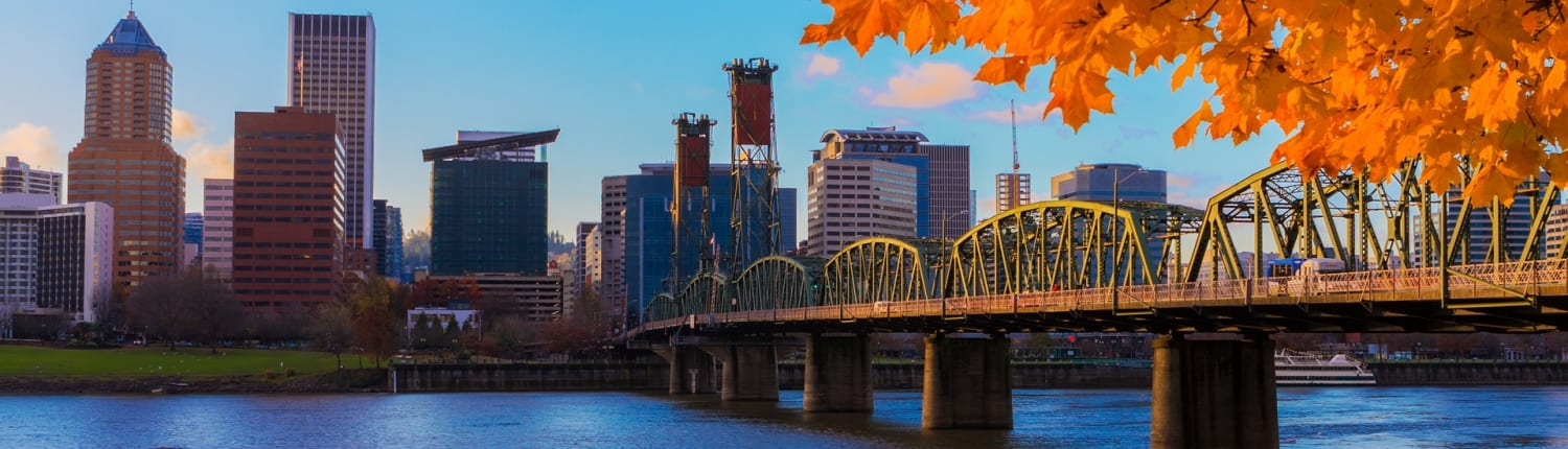 Portland Oregon Skyline in Fall from Immigration Law Group, LLC Offices